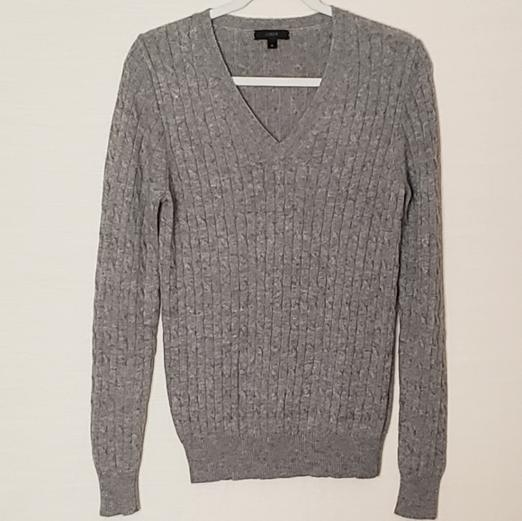 J Crew cambridge cable v neck sweater